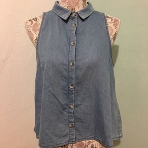 Topshop Blue sleeveless Front Buttons Top Size 4